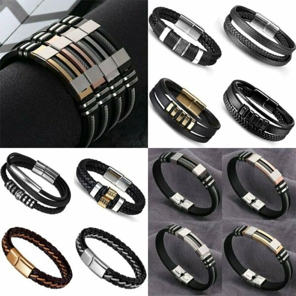 Luxury Stainless Steel Silicon Men  Bracelet Wristband Cuff Bangle Jewelry Gifts