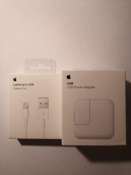 APPLE iPad air A1401 2 Pin Euro Chargeur BLANC 12W 2A + cable MD818ZM