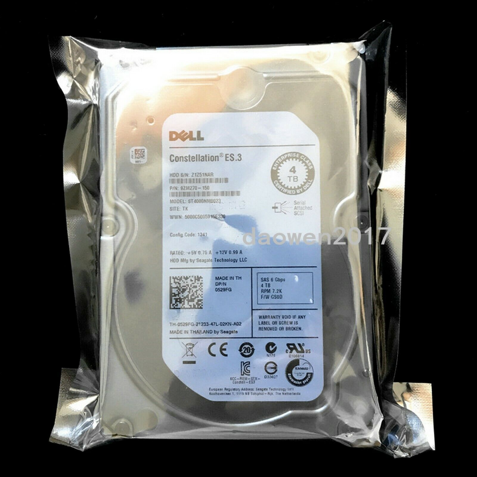 "Dell 529FG 4TB 7200RPM 6Gb//s 3.5/"" SAS Hard Drive Seagate ST4000NM0023"
