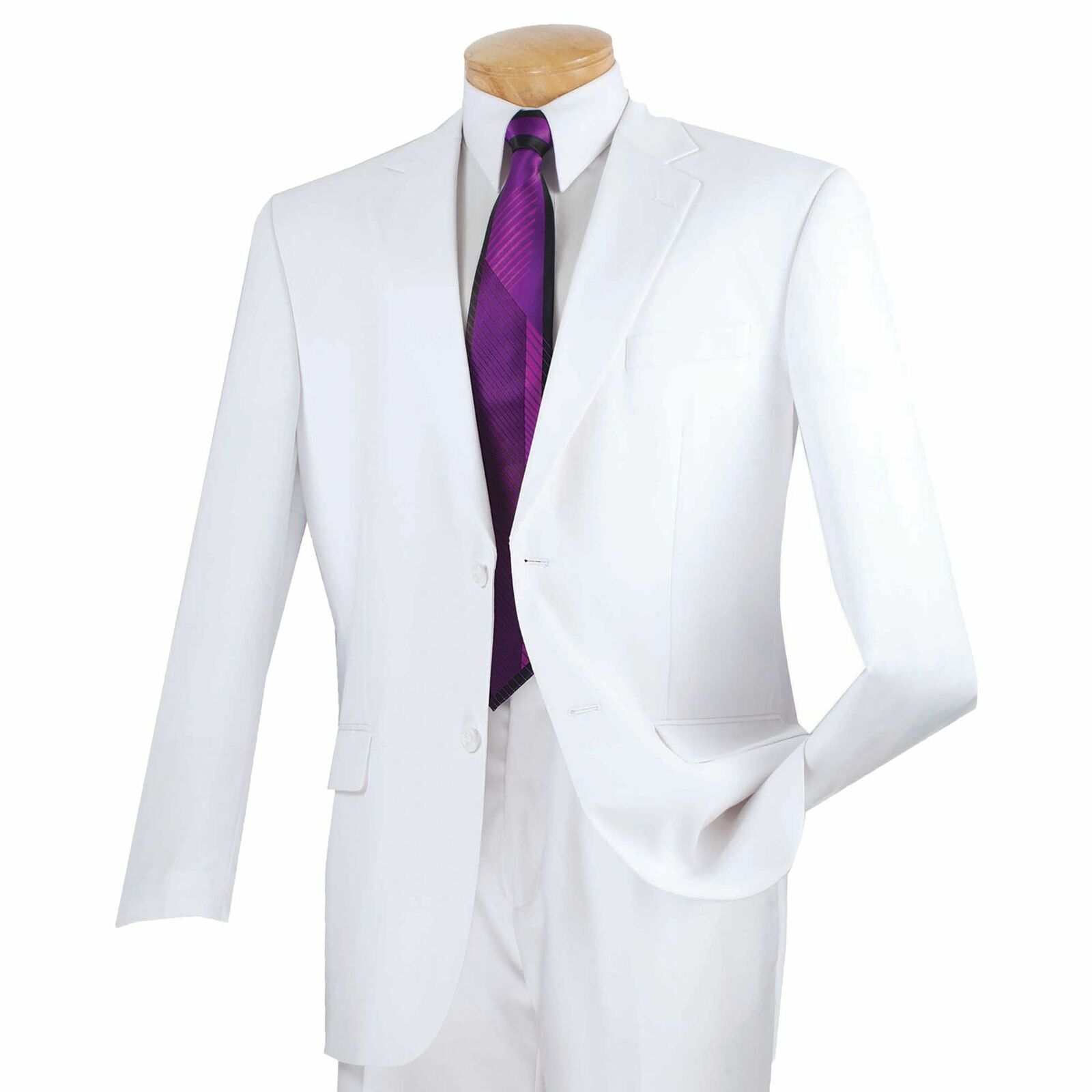 Vinci Men's White 2 Button Classic Fit Suit W/ Flat Front Pants