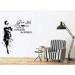Wall Vinyl Decal Fashion Girl in Dress with Words Quote Sticker (n1132)