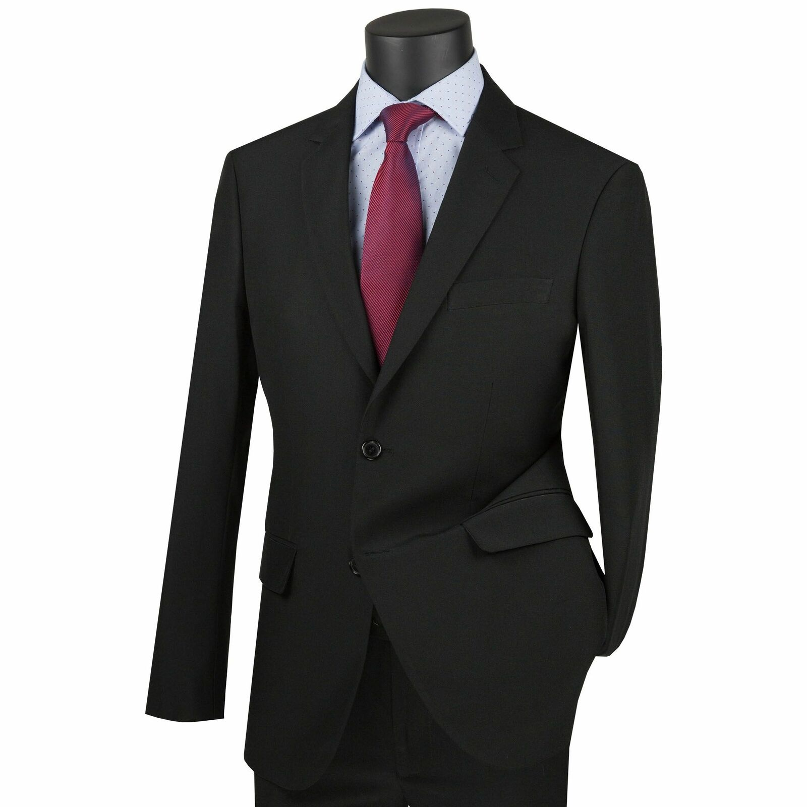 Lucci Men's Black 2 Button Ultra Slim Fit Poplin Polyester Suit
