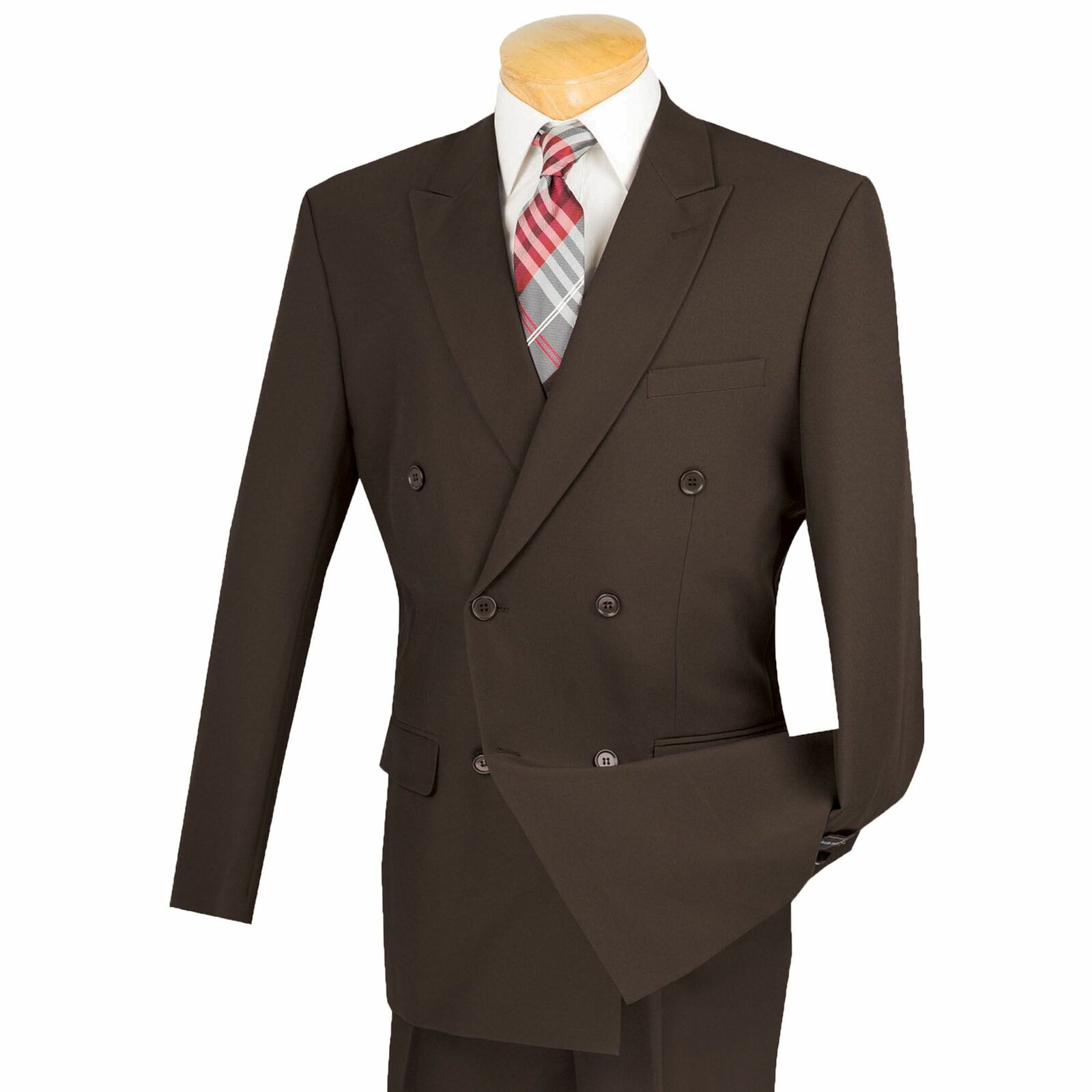 Lucci Men's Brown Double Breasted Classic Fit Poplin Polyester Suit