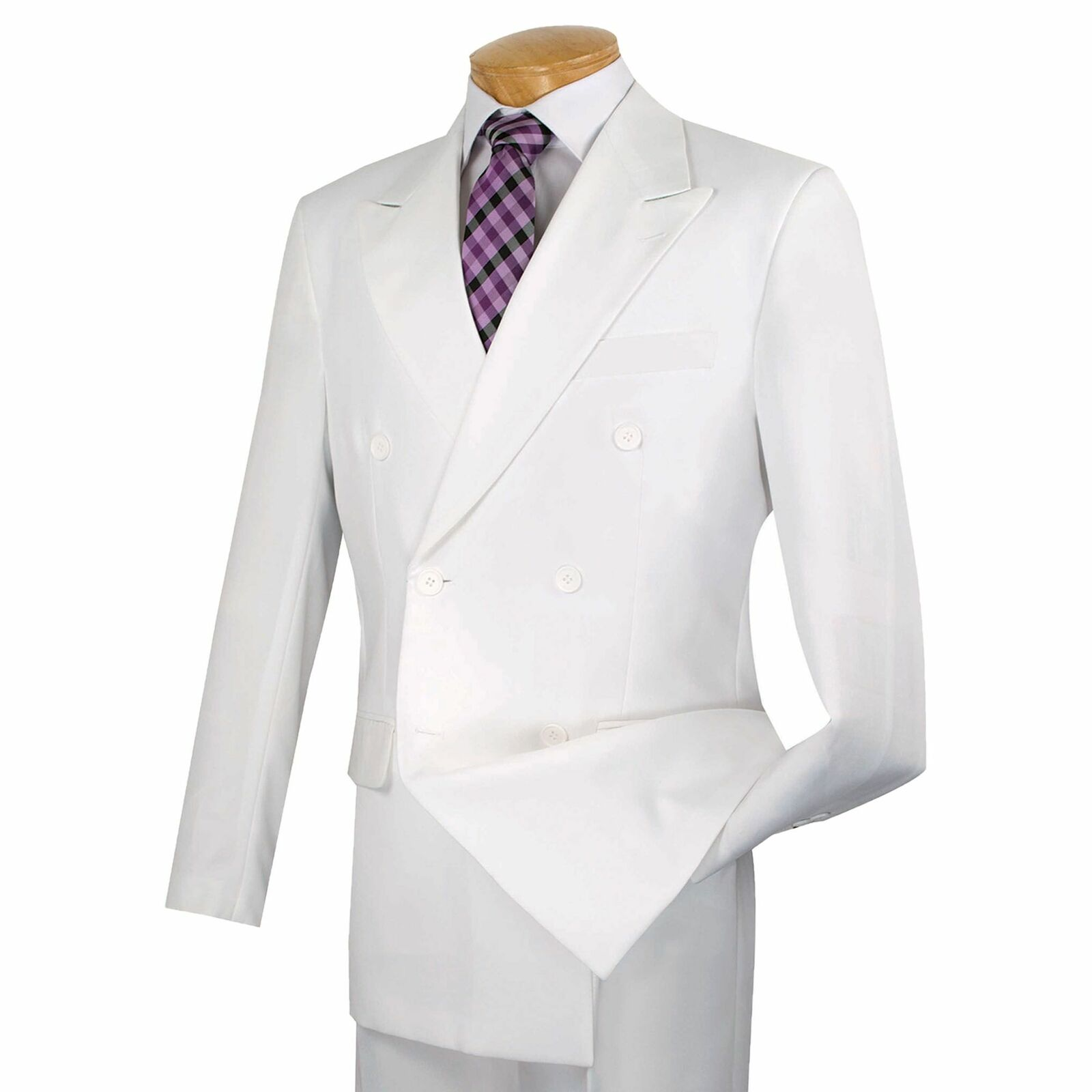 Lucci Men's White Double Breasted Classic Fit Poplin Polyester Suit