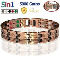 5IN1 PURE SOLID COPPER MAGNETIC BRACELET ARTHRITIS THERAPY MEN WOMEN PC11