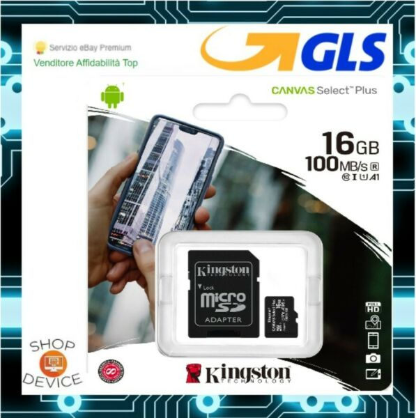Kingston Micro SD 16GB Class 10 UHS Canvas Scheda Memoria SPEDIZIONE CON POSTA1