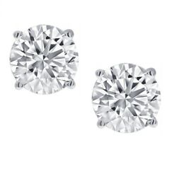 Kyпить 1/2ct Real (Natural) Round Diamond Solitaire Stud Earring set in 14K White Gold на еВаy.соm