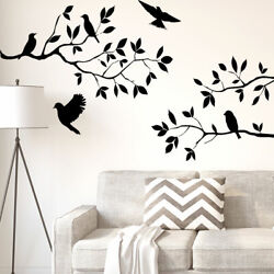 Branch Bird Self-stick Wall Stickers Artificial Decal for Bedroom