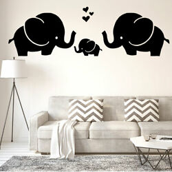 Black Elephant Pattern Self-stick Wall Stickers Artificial Decal for Living Room