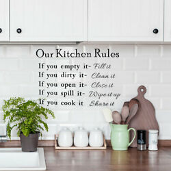 Kitchen Rule Pattern Wall Sticker Removable Art Decal for Bedroom Living Room