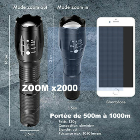 img-Lampe Torche Poche ultra puissante Zoomable Randonnée Sport Velo Camping Pêche