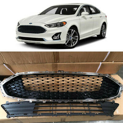 Chrome Upper & Lower Bumper Grill Honeycomb Grille for 2019 2020 Ford Fusion