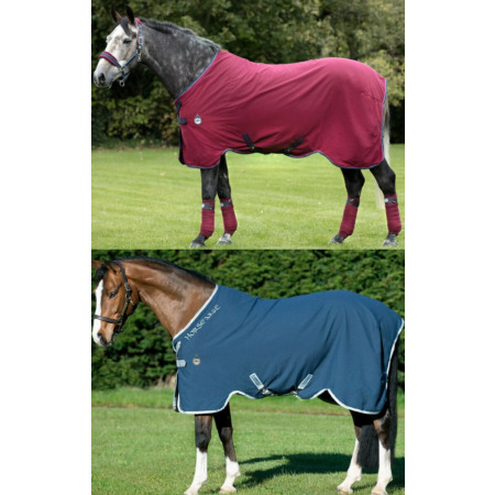 img-Horseware Rambo HELIX DISC FRONT Cooler/Stable/Travel Sheet Rug Navy/Silver