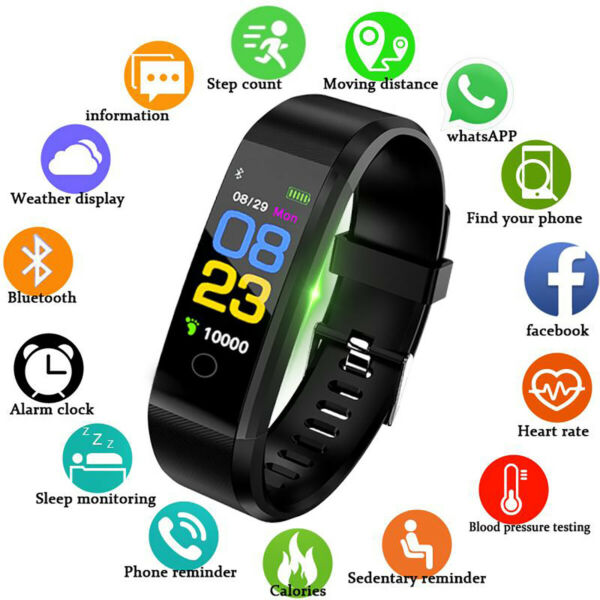 Smartwatch Android Orologio Bluetooth Fitness Smart Watch Sport Nero IP67 IoS