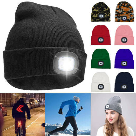 img-Unisex LED Beanie Hat Winter Knitted Warm Cap Battery Operated Head Lamp Lights