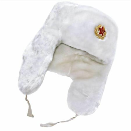 img-Russian Trapper Hat White With Soviet Badge Faux Fur Ushanka Cossack Flap Cap