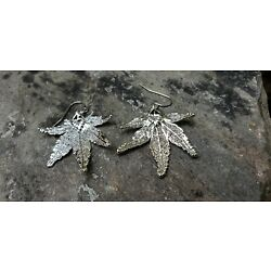 Silver Dipped Japanese Maple Tree Real Leaf Wire Earrings Jewelry SJEW