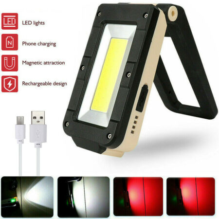 img-LED Work Light COB Inspection Lamp Magnetic Torch USB Rechargeable Car Garage UK