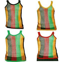 Fitted Rasta Stripe String Vest Mesh Fishnet Muscle Top Black Red Green Yellow