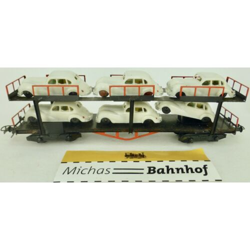 Car Carrying Truck with 6 Emw in White Loaded Double Decker H0 1:87 Å