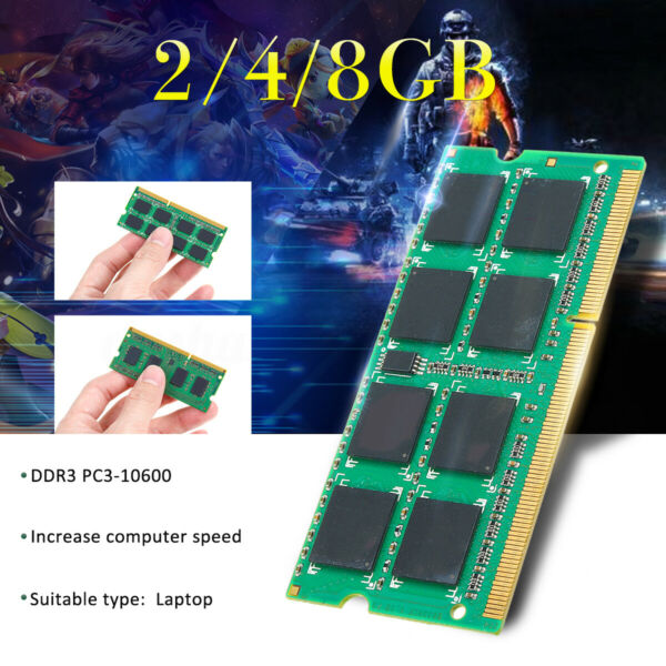 Memoria RAM 2/4/8GB PC3-10600 DDR3 1333Mhz 204-Pin CL9 DIMM Laptop Notebook