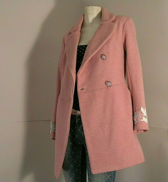 TAILORING PRODUCTION coat 2/4 pink velour 100% wool jawel applications size UK 8