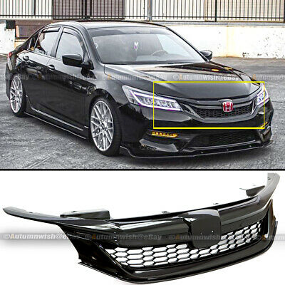 For 16-17 9th Gen Honda Accord Semi Glossy Black JDM Sport Style Front Grille