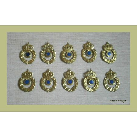 img-GREEK ARMY METAL HAT BADGES Lot X 10 New MILITARY GREECE COAT OF ARMS VTG