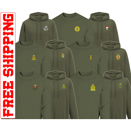 img-Embroidered Cap badge Army HOODIE SWEATER REME RE PWRR AGC AAC RHA RIFLES RLC