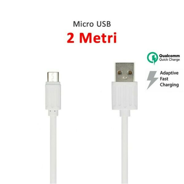 CAVO MICRO USB 2 METRI CARICA BATTERIE FAST QUICK CHARGER SAMSUNG XIAOMI HUAWEI