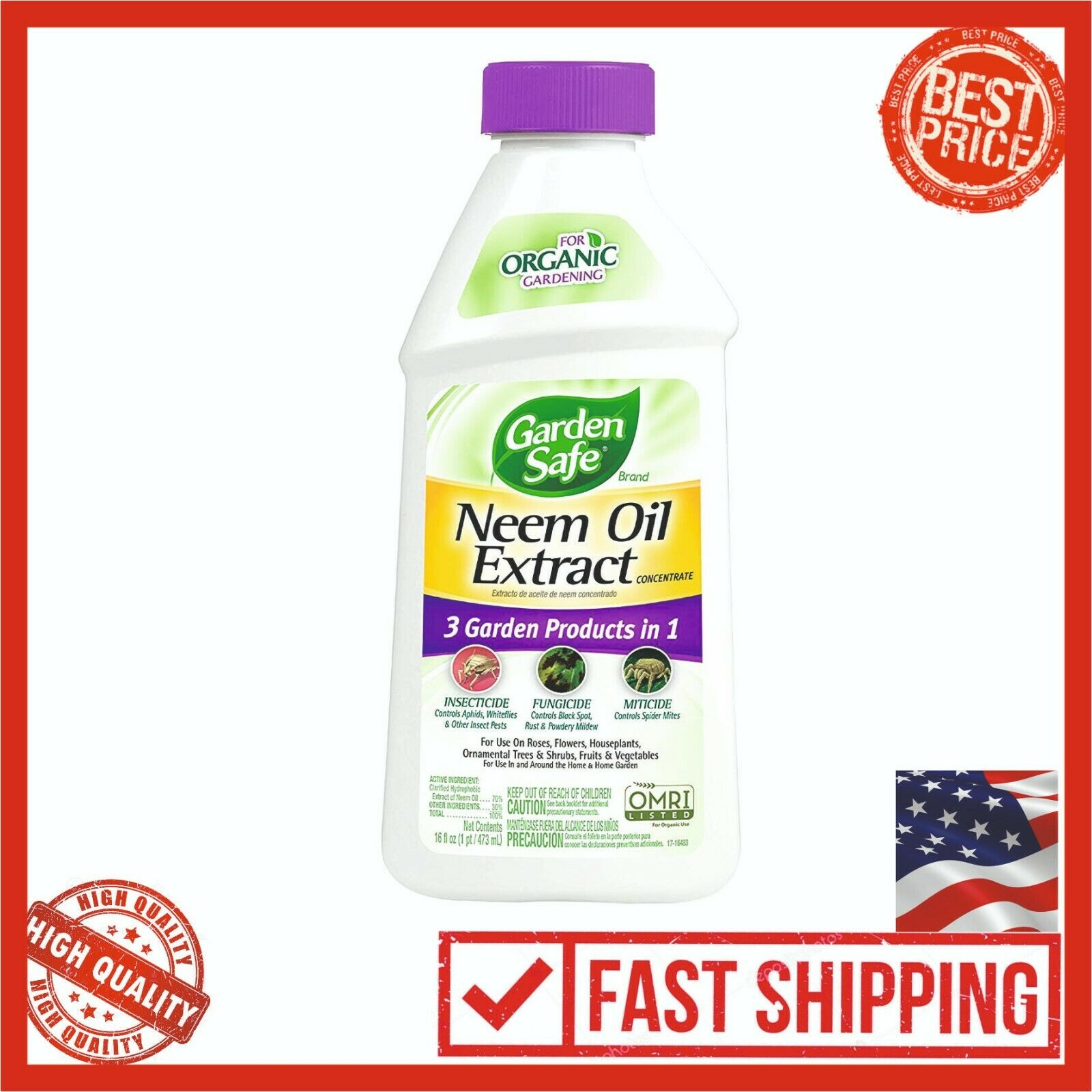 Garden Safe Neem Oil Extract Concentrate 16 Fl Oz Organic Insect Plant Formula
