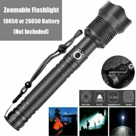 img-LED Torch Rechargeable USB Flashlight Police Tactical Zoom Camping Outdoor Lamp