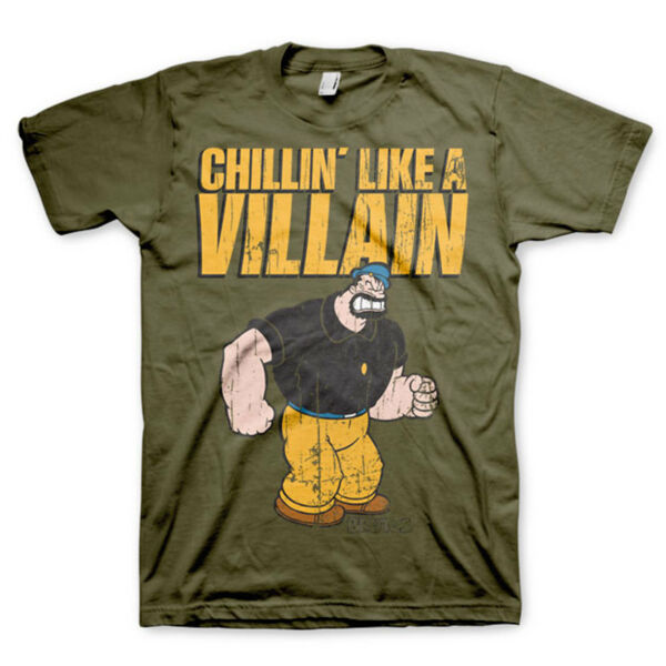 Royaume-UniUnisexe Licence le popeye Brutus T-Shirt Chillin Comme A Villain