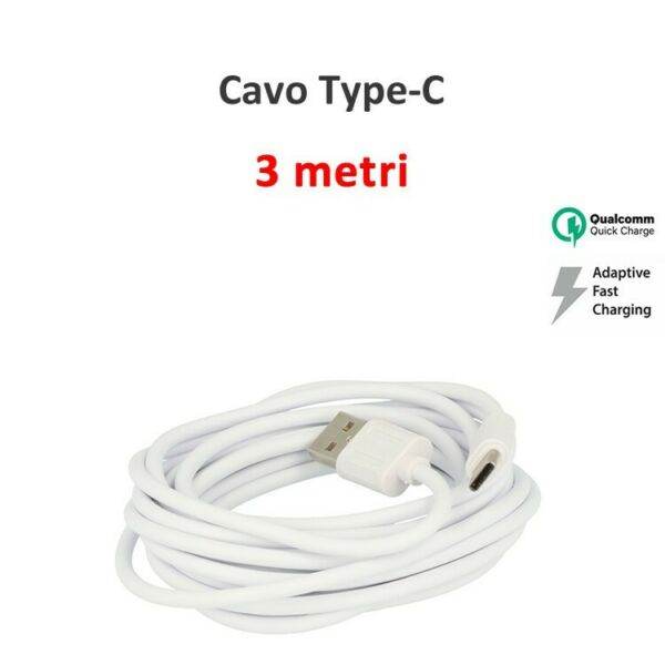 CAVO USB TYPE-C LUNGO 3 METRI CARICA BATTERIE FAST CHARGER SAMSUNG XIAOMI HUAWEI