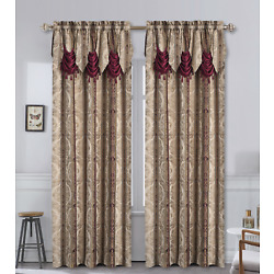 Kyпить Kate Aurora Red, Burgundy & Taupe Damask Window Curtain & Attached Valance на еВаy.соm
