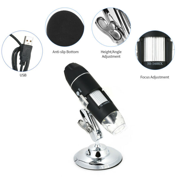KKmoon 1600X Magnification USB Digital Microscope 8-LED Light Magnifier w/Stand