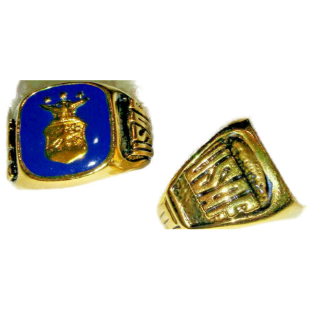 img-Air Force Ring Dark Blue Enamel 18 kt gold US made 10, 11, 12, 13 NWT