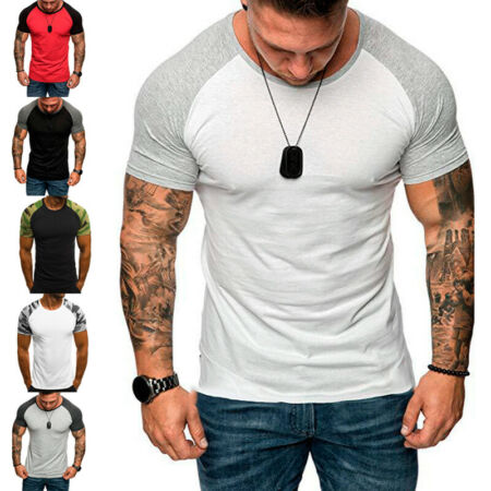 img-Summer Men Sports Muscle Tee Camouflage GYM Short Sleeve Slim T-Shirt Basic 3XL