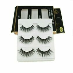 Kyпить 3 Pairs 100% Real 3D Mink Makeup Cross False Eyelashes Eye Lashes Handmade на еВаy.соm