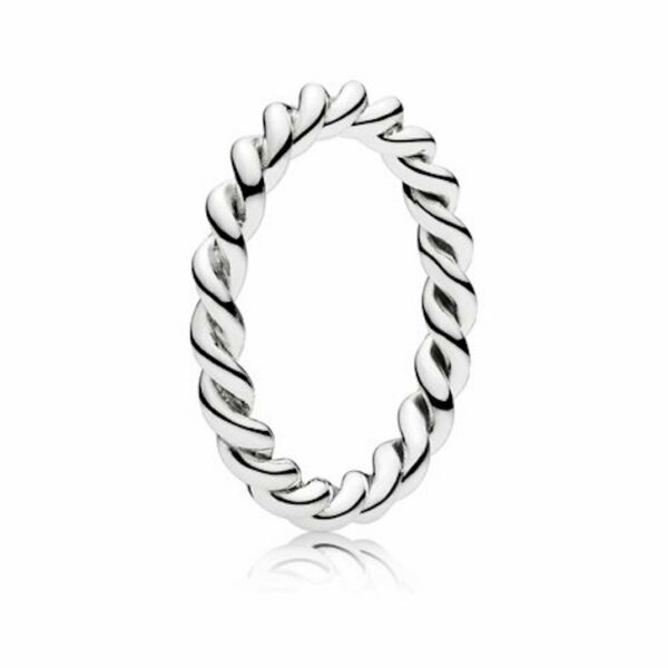 INTERTWINED Genuine PANDORA Silver Twisted STACKABLE Band Ring 7/54 NEW