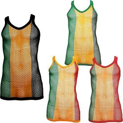 Fitted Jamaica Rasta String Vest Mesh Fishnet Muscle Top Black Red Green Yellow