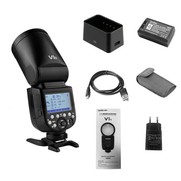 Godox V1N Professionale Speedlite Wireless 2.4G Testa rotonda per Nikon IT F2L8