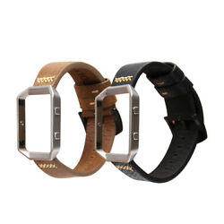 For Fitbit Blaze Band Accessory Genuine Leather Wrist Watch Band + Steel Frame