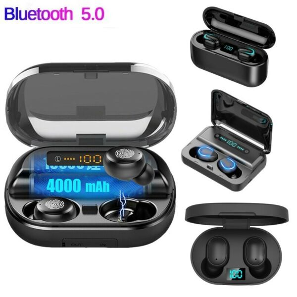 Wireless Auricolari sportivi in-ear cuffie Bluetooth 5.0 con scatola di ricarica