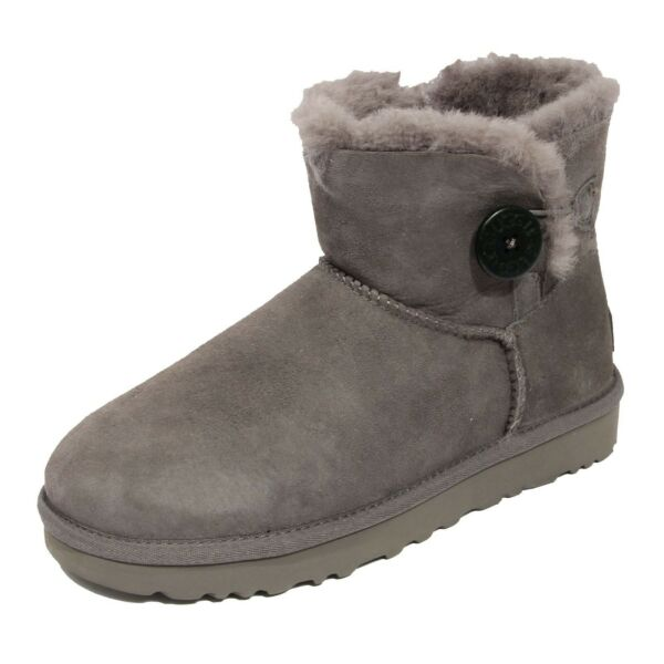 ItalieG0241 stivale donna UGG MINI BAILEY BUTTON grey boots shoes woman