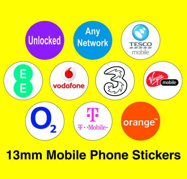 Royaume-UniMixed Pack Of 10 Mobile Phone Network Stickers -  / T-Mobile / 3 etc