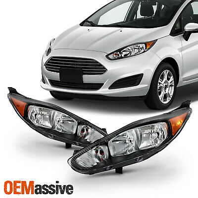 For 2014-2017 Ford Fiesta S SE ST 18 Titanium Halogen Black Trim Headlight Pair