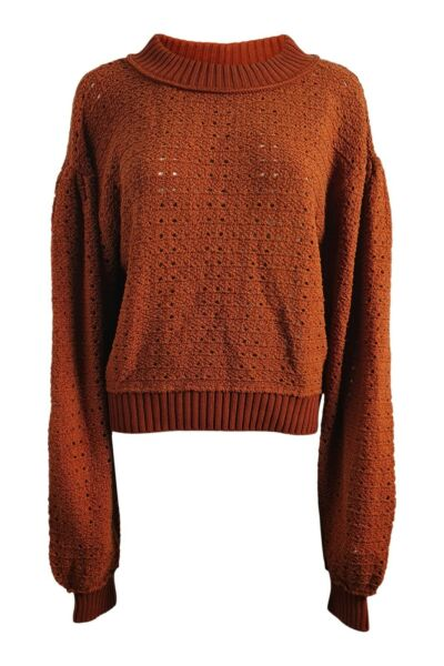 Royaume-UniFREE PEOPLE Autumnal Brown Open Knit Extra Long Sleeved Jumper (L)