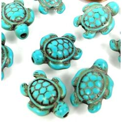 Kyпить 18x14mm Blue Turquoise Turtle Beads (12) на еВаy.соm