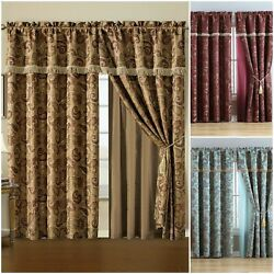 Chezmoi Collection Adelle 4-Piece Paisley Jacquard Embroidery Window Curtain Set